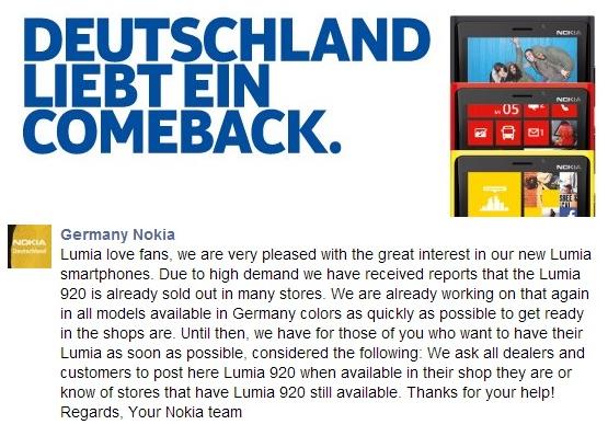 Nokia Lumia 920 rasprodat u Nemačkoj